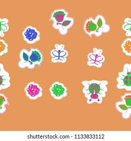 Floral motifs,butterflies, lady bugs,  dotted lines, labels  seamless pattern . Hand drawn.