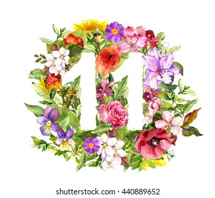 Floral number - 11 (eleven) from wild flowers and herb. Watercolor