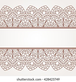 Floral oriental pattern with place for text. Raster version.