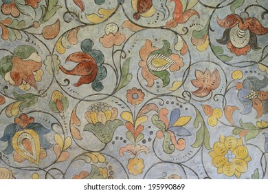 Floral ornament of 17th century in Saint Basil Cathedral on Red