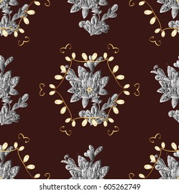 Floral ornament brocade textile pattern, glass, metal with floral pattern on brown background with golden elements. Seamless classic golden pattern.
