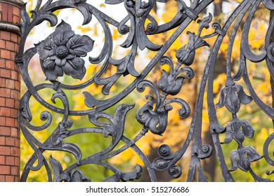Floral ornament of fence of the Mikhailovsky Park on a background of autumn leaves, St. Petersburg, Russia