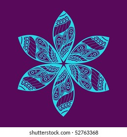 Floral ornament. Ornate flower. Vector version is in my portfolio.