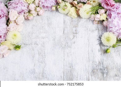 Floral ornament with peonies, roses, dahlias and other summer flowers. Copy space.