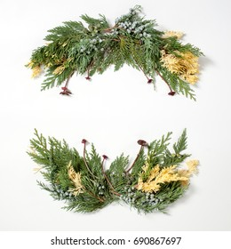 Floral ornament, round frame wreath from evergreen plants. Christmas concept.