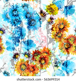 Floral pattern blue orange flowers and graphic stems seamless pattern. Elegance photo collage blossom flowers and plants wild natures backdrop.