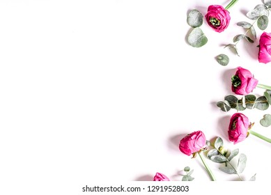Floral pattern with bright flower on white background top view mockup