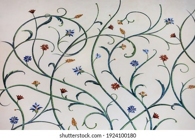 Floral pattern design on the wall of the Sheikh Zayed Grand Mosque, the largest mosque of UAE, located in Abu Dhabi