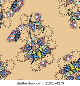 Floral pattern in doodle style with flowers. Gentle, tender floral background. Flowers on beige, black and blue colors.