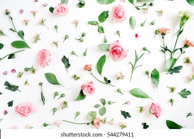 Floral pattern made of pink and beige roses, green leaves, branches on white background. Flat lay, top view. Valentine's background. Floral pattern. Pattern of flowers. Flowers pattern texture - Shutterstock ID 544279411