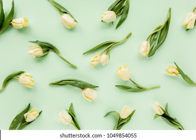 Floral pattern made of yellow tulip on green background. Flat lay, top view. Valentine's background. Floral pattern. Pattern of flowers. Flowers pattern texture