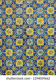 Floral pattern on tiles of Sheikh Lotfollah Mosque, Isfahan, Iran