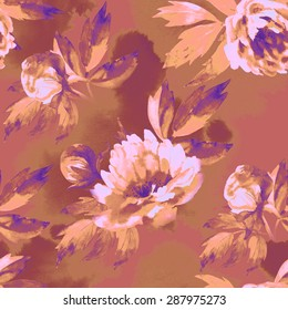 Floral pattern with peony. Hand drawings on cloth.