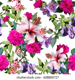 Floral pattern photo collage seamless. Digital design for floral print. Blossom tropical flowers hibiscus, rhododendron and primrose.