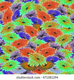 Floral pattern red, violet, green, blue flowers background. Watercolor colorful.