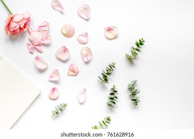 floral pattern with rose and eucalyptus on white table top view