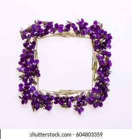 Floral pattern square Frame made of small forest flowers violet with empty space for text on a  on white background. Flat lay, top view. mock up for text, phrases, congratulations, lettering