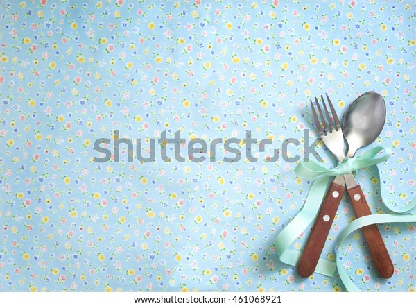 Floral Pattern Turquoise Colour Napkin Background Royalty