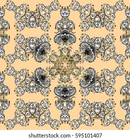 Floral pattern. Wallpaper baroque, damask. Seamless background. Golden elements on beige background. Stylish graphic pattern.
