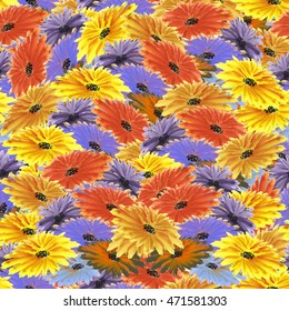 Floral pattern yellow, violet, orange, blue flowers background. Watercolor colorful.