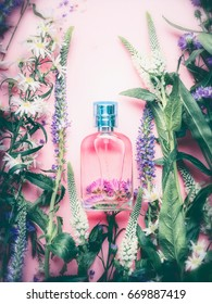 Floral Perfume bottle with plants and flowers, top view.   Perfumery, cosmetics, botanical fragrance concept.