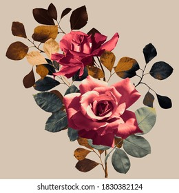 floral print, bouquet of roses and autumn leaves, square format, light brown background - Shutterstock ID 1830382124
