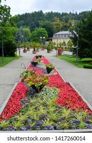 Floral rebate on the promenade in the spa town of Kudowa Zdroj