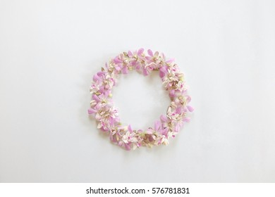 Floral round crown(wreath) with pink orchid