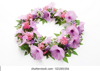 Floral round crown(wreath) with purple and pink flowers