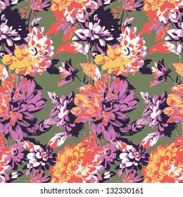 Floral seamless abstract flower pattern