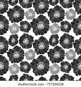 floral seamless pattern with abstract black and white poppies. Hand drawn style background on white