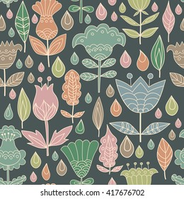 Floral seamless pattern background with birds. Background for coloring book. Floral, retro, doodle design element.