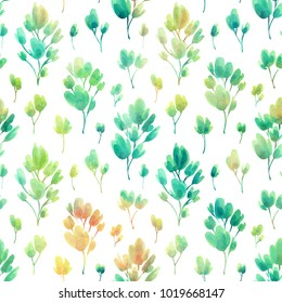 Floral seamless pattern with branches. Watercolor bright hand painted background. Template for your design