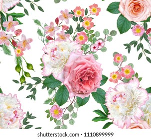 Floral seamless pattern. Flower arrangement, bouquet of delicate beautiful pink roses, white peonies green leaves.