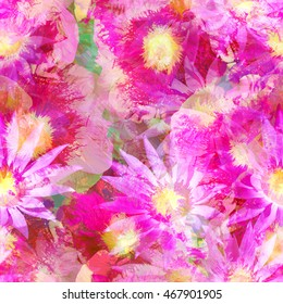 Floral seamless pattern flowers background. Realistic photo collage - clip art. Pink Mallow flower and lotus