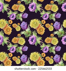 Floral seamless pattern with flowers and leaves on black background
