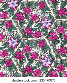 Floral seamless pattern with fucshia and pink tropical flowers. Seamless pattern can be used for paper wrapping, fabric, textile and other various backgrounds and textures.