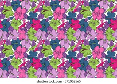 Floral seamless pattern with hibiscus flowers. Hand drawn on a white background. Raster hibiscus floral pattern. Design in pink, green and purple colors for invitation, fabric, wedding, greeting cards