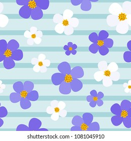 Floral seamless pattern. Light blue background with stripes and violet flowers.