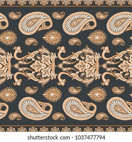 Floral seamless pattern with paisley ornament.Illustration in Asian textile style