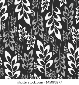Floral seamless pattern with red tulips on a dark background