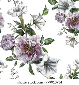 Floral seamless pattern with watercolor peonies and datura flower