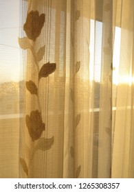 Floral shining golden curtains Sunlight fabric texture vertical lines background