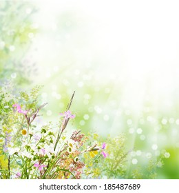 Floral spring easter holiday background with copyspace