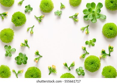 Floral spring fresh background, top view, flat lay composition