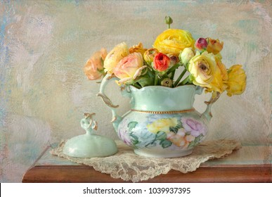 Floral Still Life with Texture