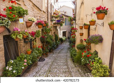 Floral streets of Spello in Umbria, Italy.