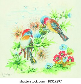 Floral summer design with hand-painted abstract flowers with birds in different colors on white background. Art is painted and created by photographer.