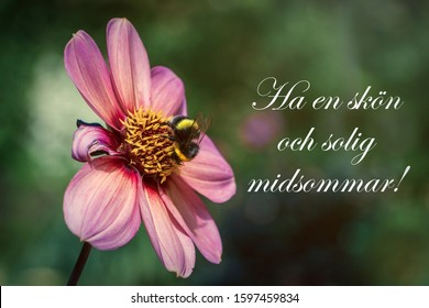 Floral sunny card (kort) with Happy Midsummer (Glad Midsommar) text, inscription. Traditional family summer holiday in Sweden. Summer bright flowers on the background. Celebrating of Summer Solstice.
