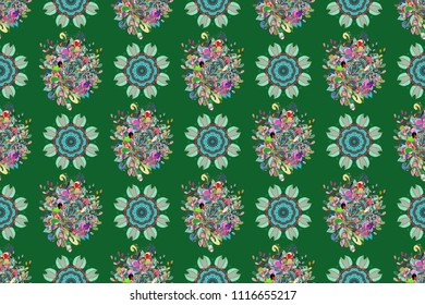 Floral sweet seamless background for textile, fabric, covers, wallpapers, print, wrap, scrapbooking, quilting. Pretty vintage feedsack pattern in small green, blue and neutral, flowers. Millefleurs.